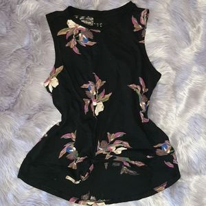 Womens black tank with front knot.